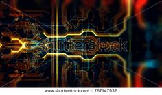 Abstract technological background made of different element printed circuit board. Depth of field effect and bokeh. 3d Rendering/Printed circuit board in the server  executes the data
