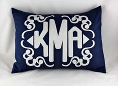 custom personalized monogram pillow. with custom appliqué