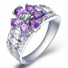 Amazing 925 Sterling Silver Natural Purple Crystal Women's Ring