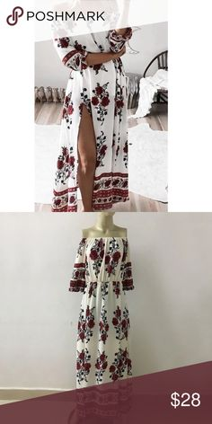 """Floral Print off the Shoulder slit Maxi dress SZ S Floral print off the Shoulder side split Maxi dress. Dress is a very soft material. MATERIAL: polyester, SIZE: Small (Bust: 39.3"""", Sleeves: 13.3"""", Length: 48"""") Condition:  Brand New never worn Dresses Maxi"""