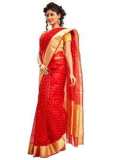BUY SAREE ONLINE - RED CHANDERI SAREE WITH BLOUSE | INDIAN SILK HOUSE AGENCIES