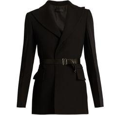Calvin Klein Collection Jabar crepe tuxedo jacket ($2,060) ❤ liked on Polyvore featuring outerwear, jackets, blazers, black, tuxedo jacket, leather belts, tux jacket, dinner jacket and crepe blazer
