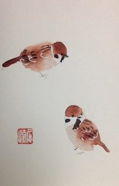 "I call pairs of anything ""Twosies"" this Sparrow duo by Shozo Ozaki"