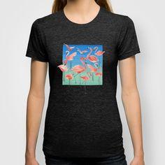 Flamencos pattern T-shirt by Ninola - $22.00