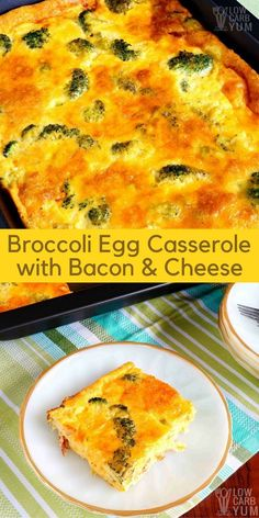 Broccoli Egg Casserole with Bacon and Cheese - Eggs! They are a staple in a low carb diet. This broccoli bacon and egg casserole provides enough for several meals with high protein to keep you full longer. #lowcarbrecipe #lowcarbcasserole