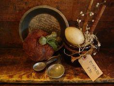 Grandma's Primitive Pumpkin Pie Gathering Crock Spoons Egg Tin Pan Grubby Tag | eBay
