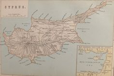 Antique Map of Cyprus 1880s by PeonyandThistlePaper