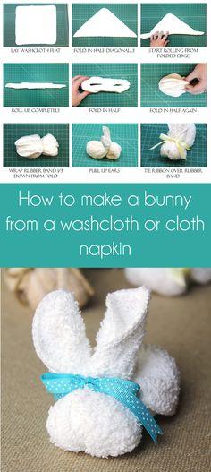 How to make a bunny using a  washcloth or a cloth napkin