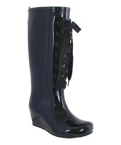 I have these Black Lace-Up Wedge Rain Boot by Capelli New York, and they are adorable