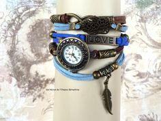 montre Ethnique Chic Femme Plume Boho Hibou Love Romantique Bracelet Manchette idée cadeau st Valentin : Montre par l-oiseau-seraphine