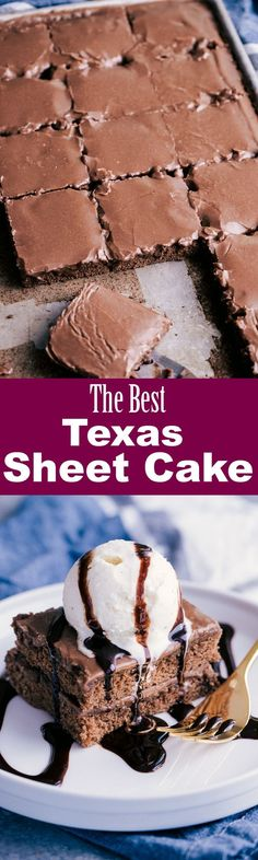 The Best Texas Sheet Cake is moist, rich and topped with the most amazing chocolate glaze frosting that will melt in your mouth. In just 30 minutes you will have an absolute dessert favorite with this Texas Sheet Cake Recipe. Cupcakes, Cupcake Cakes, Easy Desserts, Delicious Desserts, Dessert Recipes, Frosting Recipes, Yummy Treats, Sweet Treats, Sheet Cake Recipes