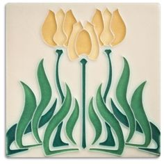 Motawi Tileworks Collection Our Tulips tile is quintessential art nouveau —all sinuous lines and whiplash curves. Hang it with our Coronet and Ladybell tiles for a striking trio. Actual tile size: 5-1