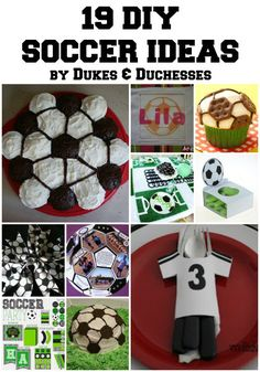 19 DIY Soccer Ideas, perfect for a themed party! Complete with all the finishing touches you could want! {Dukes and Duchesses} Soccer Mom survival, soccer mom ideas Soccer Treats, Soccer Snacks, Soccer Gifts, Sports Snacks, Team Snacks, Soccer Stuff, Sports Gifts, Soccer Birthday Parties, Soccer Party