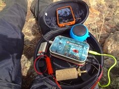 Summits on the Air with my MTR 2-band 5w QRP Transceiver with outboard amplified speaker, 9vDC battery, paddles (in cork handle) and iPhone for spotting and logging. QRP Ham Radio CW Morse Code