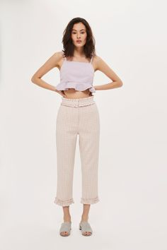 Ruffle Waist Gingham Trousers - New In Fashion - New In - Topshop