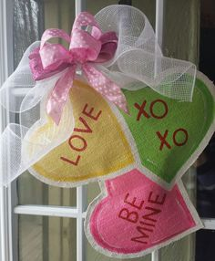 Valentines day burlap door hanger Valentines by ConnieRisleyCrafts