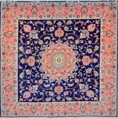 Tabriz Square Royal Blue Wool Persian Rug - Item# 248 Size: 200 x 200 (cm) 6 x 6 (ft) Persian Carpet, Persian Rug, Where To Buy Carpet, Hallway Carpet Runners, Stair Runners, Tabriz Rug, Square Rugs, Patterned Carpet, Aladdin