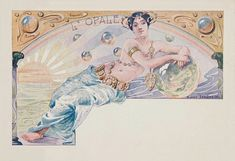L'opale.1901. Series : woman with precious gems. Color lithograph on card stock. 8.9 x 14 cm. (9/10). Art by Ernest Louis Lessieux. (1848-1925).