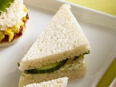 Cucumber-Butter Tea Sandwich : Mix 4 tablespoons softened butter, 1/2 teaspoon grated lemon zest and 1 tablespoon chopped fresh herbs. Spread on white bread and sandwich with sliced cucumber. Trim the crusts and cut into pieces.