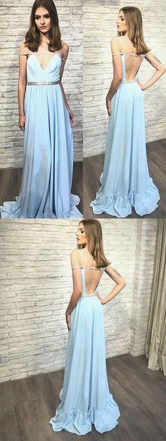 upd0528, V-neck prom dresses,long prom dress,prom 2017, A-line prom dress, open back porm dresses, sky blue, chiffon prom dress