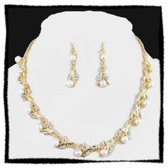 Schmuckset Collier + Ohrringe Perlen Gold Peridot grün Strass NEU