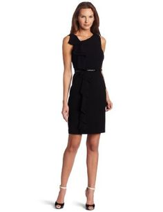 Calvin Klein Women's Side Ruffle Dress, Black, 10 Calvin Klein, http://www.amazon.com/dp/B006PHEWE2/ref=cm_sw_r_pi_dp_QSPZpb1810E7H