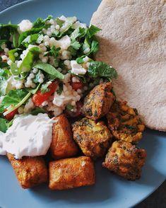 Giant #couscous salad and Falafel #vegetarian #familydinner