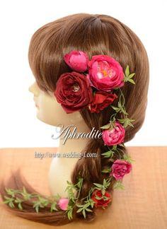バラのヘッドピース「赤&ピンク」