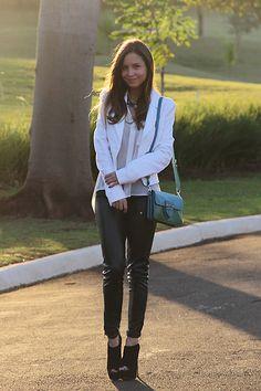Prada Bag, Zara Legging, Prada Ankle Boot, Bo.Bo Blazer, Luisa Accorsi Shirt