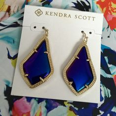 "Kendra Scott Alex Earrings. Price firm. Kendra Scott 'Alexandra' Iridescent/black Drop Earrings * 2""L x 1.4""W* Textured 14k Gold Plated Over Brass* Prong set, smooth iridescent glass centers* French wire. Kendra Scott Jewelry Earrings"
