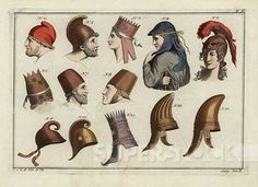 """Barbarian bonnet (1), Phrygian helmet (2), Triganes the Great, king of Armenia (3), Phrygian headdress (4), Amazon helmet (5), Armenian prince's bonnet (6), Dacian hats (7-8), Ajax's helmet (9), Aeneus's helmet (10), Parthian kings' crown (11), Barbarian helmets (12-13). Handcolored copperplate engraving from Robert von Spalart's """"Historical Picture of the Costumes of the Principal People of Antiquity and of the Middle Ages,"""" Metz, 1810.   Stock Photo #4409-149258"""