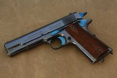 """1912 Colt This gun was shipped on November The """"Government Model""""As soon as Colt got their military production squared away, they worked on releasing a commercial version of the Model Weapons Guns, Guns And Ammo, Steampunk Weapons, Colt 1911, Shooting Guns, Fire Powers, Home Defense, Cool Guns, Shotgun"""