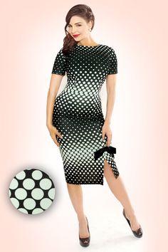 Tatyana - Caliber Pencil Dress Black With Mint Dots