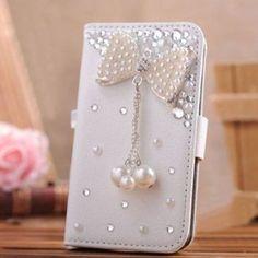 Handmade Rhinestone Pearl Leather Flip Protective Case for Iphone 6 7 & Samsung S6 E PLUS S7 S7E