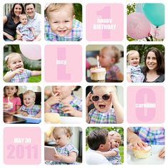 Cute 1st birthday collage