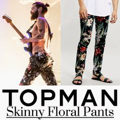 Simon Neill y sus Skinny Floral Pants de Topman en T in the Park http://bit.ly/1np6zZy