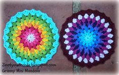 Granny Mini Mandala - free pattern @  Zooty Owl