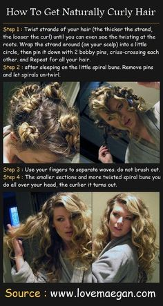 How to get natural curls, but honestly Bobby pins are hard to sleep with in your hair so I use an old sheet I tear into strips and wrap my daughters damp hair, tie at the end and she has no problems sleeping in them and it looks just as good beauty tutorials, hair tutorials, straight hair, hair beauty, bobby pins, bantu knots, pin curls, naturally curly hair, natural curls