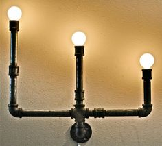 Sconce Industrial Pipe Bookshelf by stellableudesigns on Etsy, $119.00