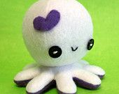 "White Love octopus plush - 4"""