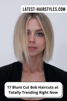 The bluntness of the ends emphasizes the jaw area and brings a strong and flattering look. Visit our website to see photos of gorgeous blunt bob haircuts. Photo credit: Instagram @anhcotran Edgy Bob Haircuts, Medium Short Haircuts, Latest Short Haircuts, Latest Hairstyles, Short Hair Cuts, Bob Hairstyles, Short Blunt Bob, Hair Tricks, Balayage Color