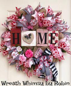 Burlap Mesh Valentine Wreath in Pink, Red & Black, Door Wreath, Valentine's Day Decor, Winter Wreath, Valentine Gift, Romantic Wreath by WreathWhimsybyRobin on Etsy