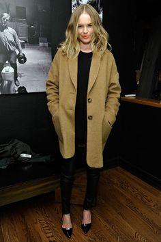 kate bosworth // camel coat + all black