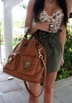 olive green skirt with floral bustier top and amazing oversized bag