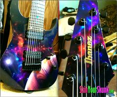Happy customers make Skinny Happy!  A beautiful space themed Guitar Skin - SkinYourSkunk.com