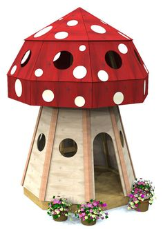 Outdoor toadstool playhouse plan.  Download the plans today and have a cute and whimsical family project for the weekend!                                                                                                                                                     More