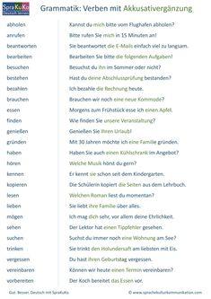 DaF-Grammatik: Verben mit Akkusativ. Die folgende Übersicht zeigt 25 Verben, die eine Akkusativergänzung (direktes Objekt) fordern. German Grammar, German Words, Verben Mit Akkusativ, Deutsch Language, Learn German, Learn English, Deutsch Als Fremdsprache, Verb Worksheets, German Language Learning