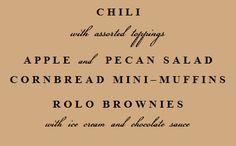 menu for chili dinner
