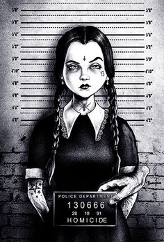 busted wednesday by marcus jones mugshot addams family tattoo canvas art print thing halloween the-munsters screaming-demons artwork Arte Horror, Horror Art, Horror Movies, Art Pop, Stretched Canvas Prints, Canvas Art Prints, Wall Prints, We All Mad Here, Evvi Art