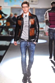 Dsquared² Fall 2012 Menswear Collection, similar to the 1950's rebel look more relaxed with jeans and a tshirt, which is now seen as everyday wear